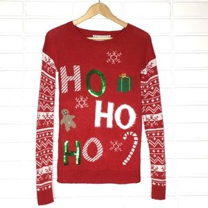 """Ho Ho Ho"" Festive Print Holiday/Christmas Sweater"